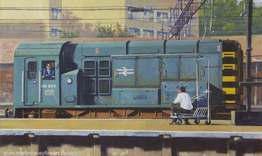 08 diesel shunter at kings cross 1990s gouashe painting
