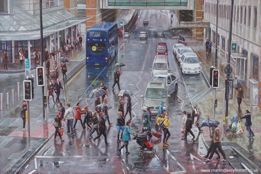 winter shopping season southampton street oil painting