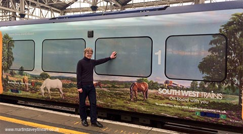M P Davey artist by SWT 450 train with New Forest art