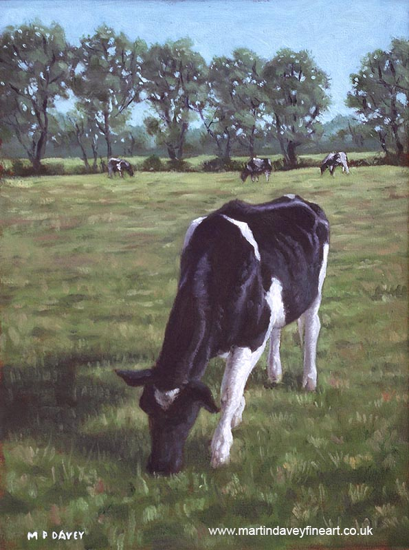 friesian cows in field throop oil painting