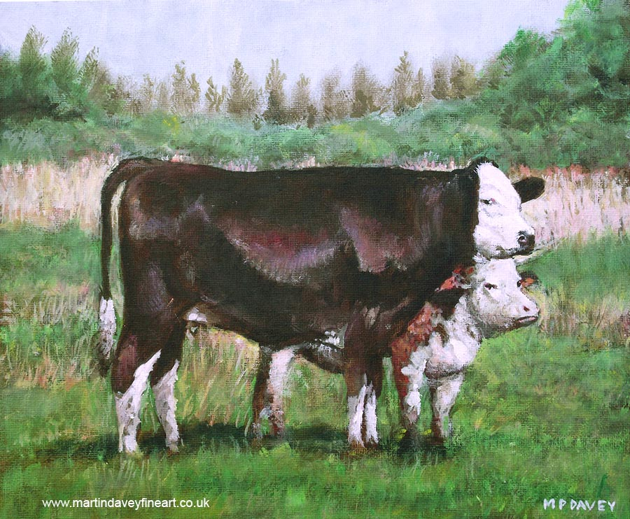 2_cows_standing in_field acrylic painting