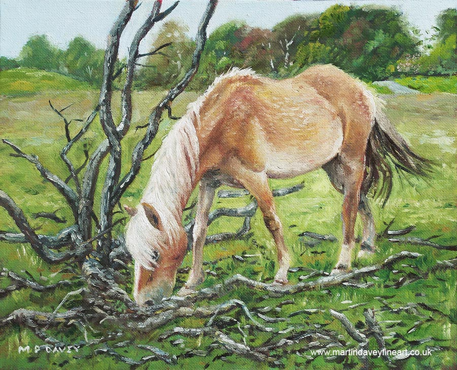 horse eating grass by burnt tree oil painting