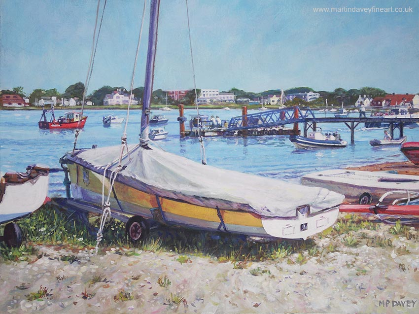 painting boat on hengistbury spit beach