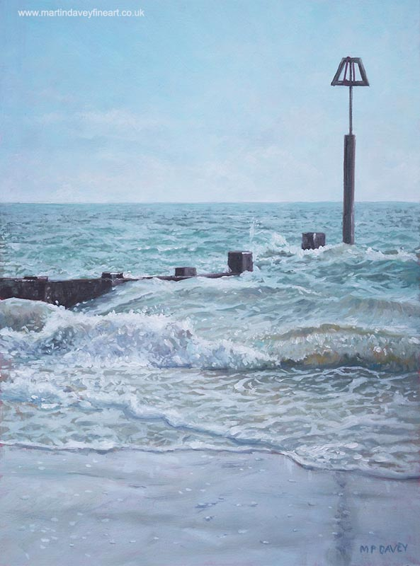 sea waves and wooden beach groin painting