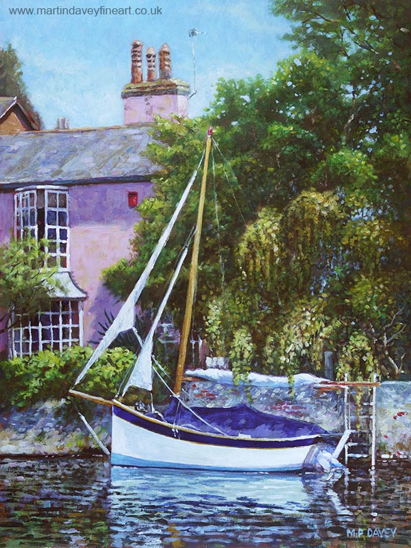 painting of pink house on River stour with boat