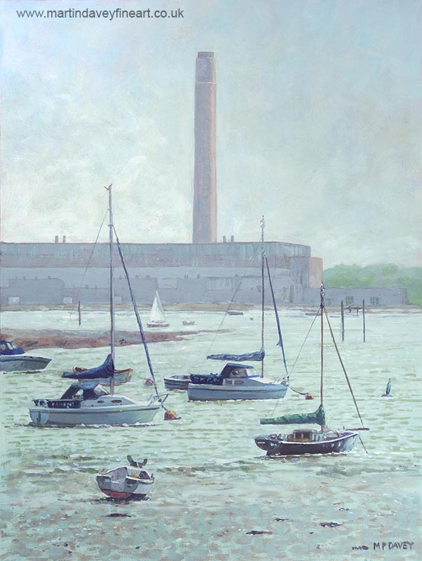 painting of boats with Fawley Power station southampton