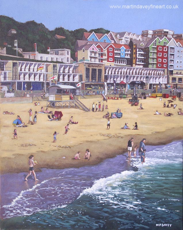 boscombe beach sea front and beach oil painting