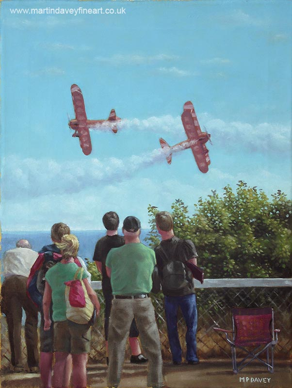 spectators at bournemouth air festival watching Breitling wing walkers oil painting