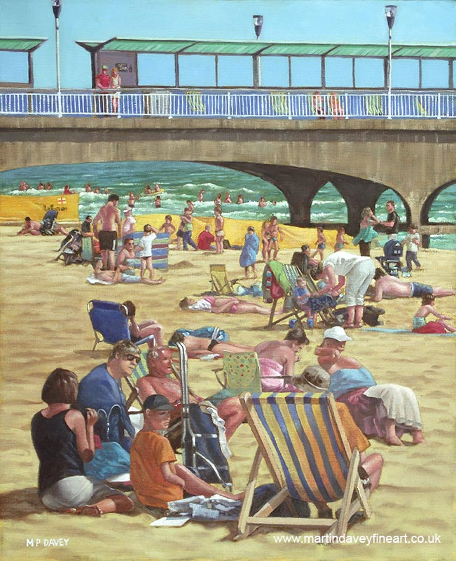 people on bournemouth beach with pier in background oil painting