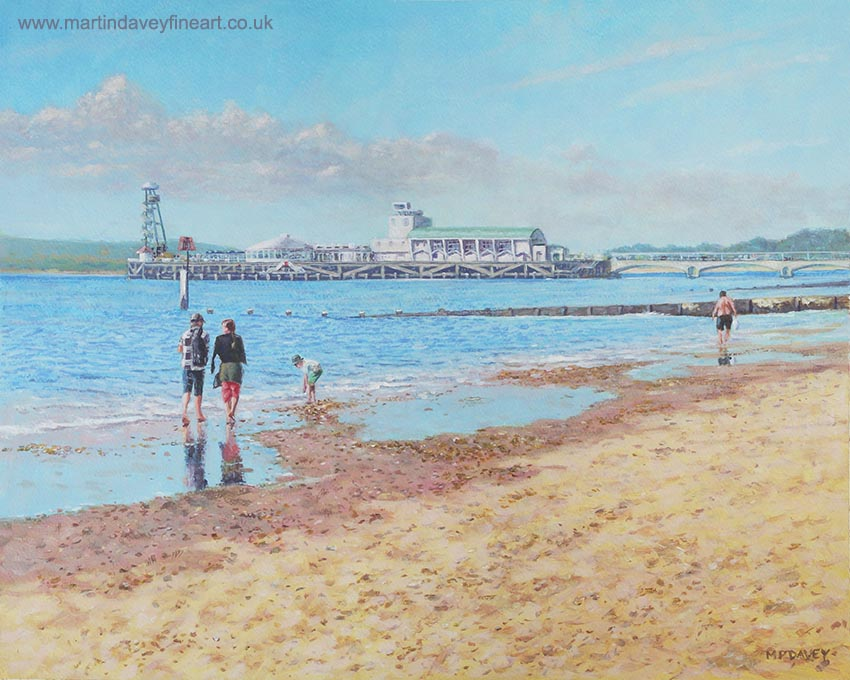 beach seaside Bournemouth acrylic painting pier