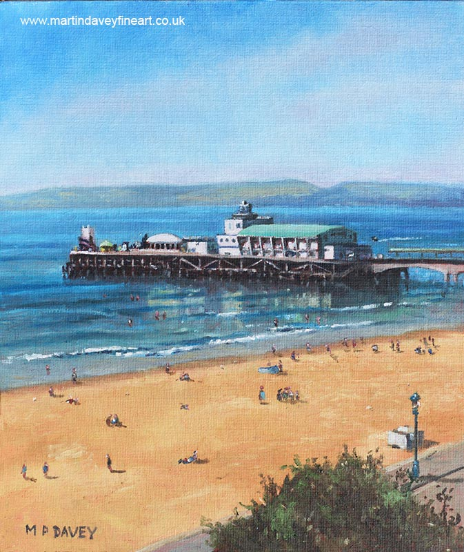 bournemouth_pier_summer_morning_from_cliff_top oil painting
