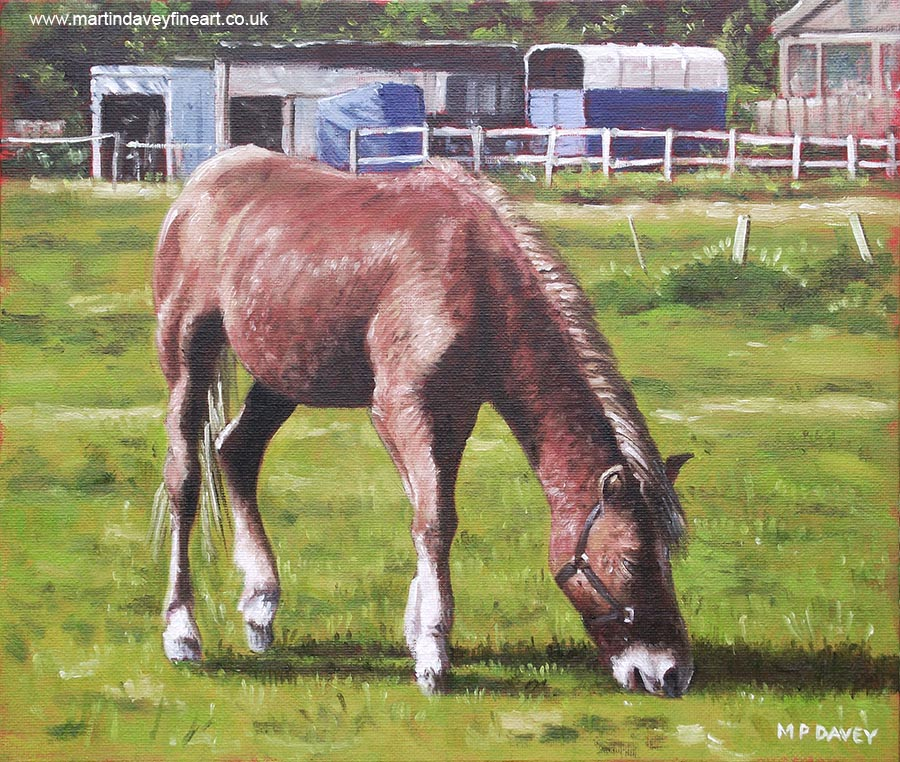 brown horse by stables oil painting