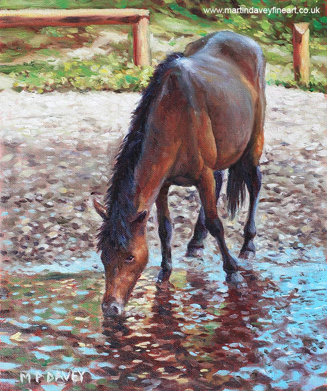 horse drinking at stream oil painting