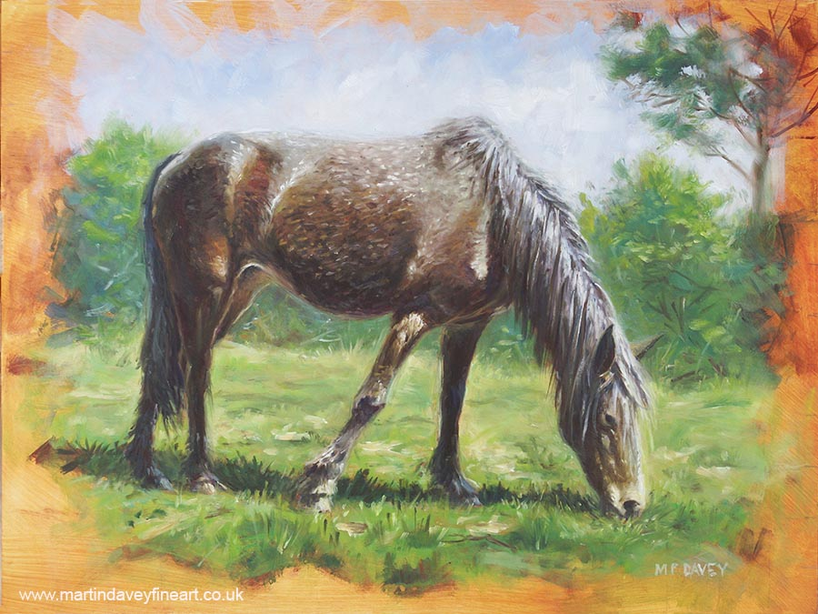 brown horse oil painting eating grass