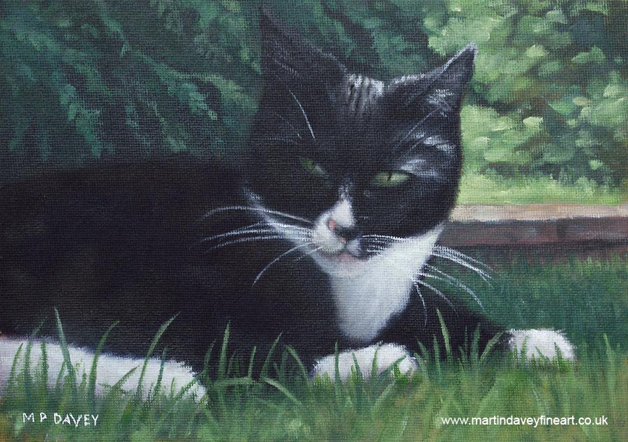 black cat resting in grass oil painting