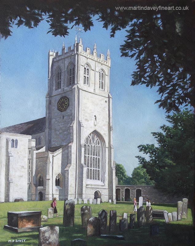 christchurch priory tower dorset uk oil painting