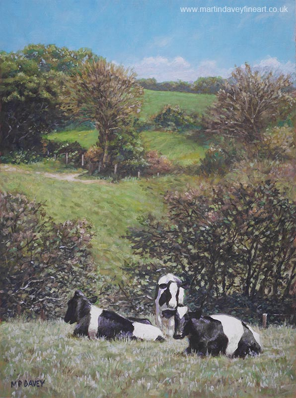 countryside with Friesian cows sitting by foot of hill painting