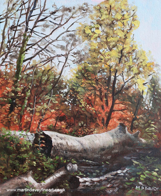 fallen_trees_on_southampton_common_during_autumn oil painting