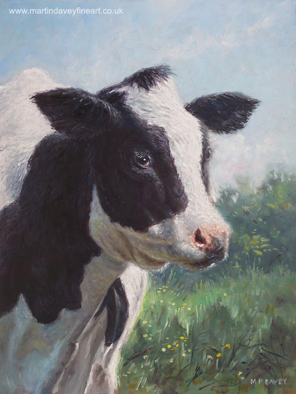 portrait of a cow oil painting