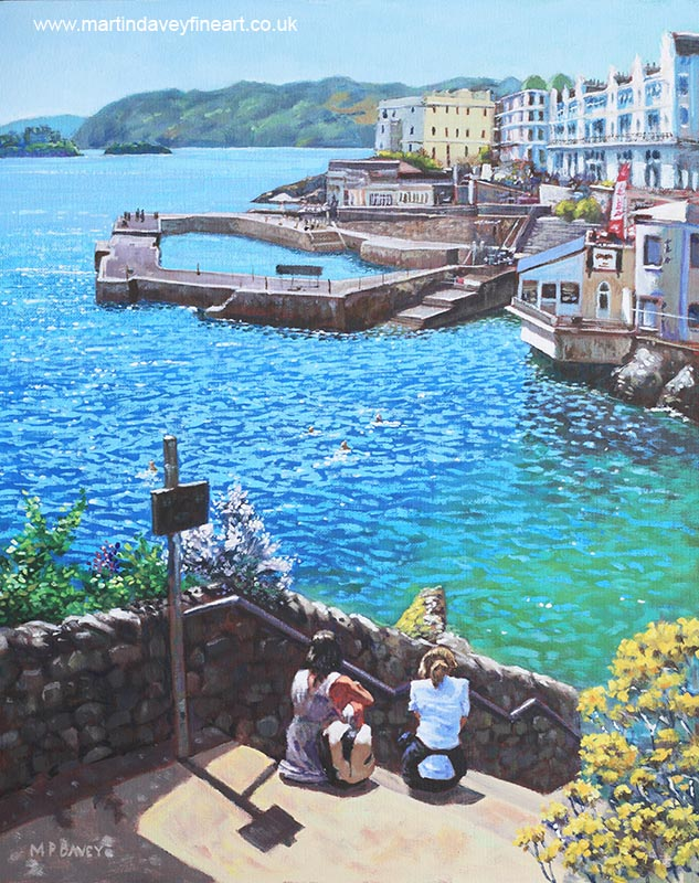 City of plymouth_devon in summer_ acrylic painting