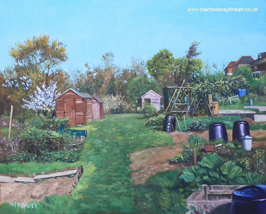 sheds_on_southampton_allotments oil painting