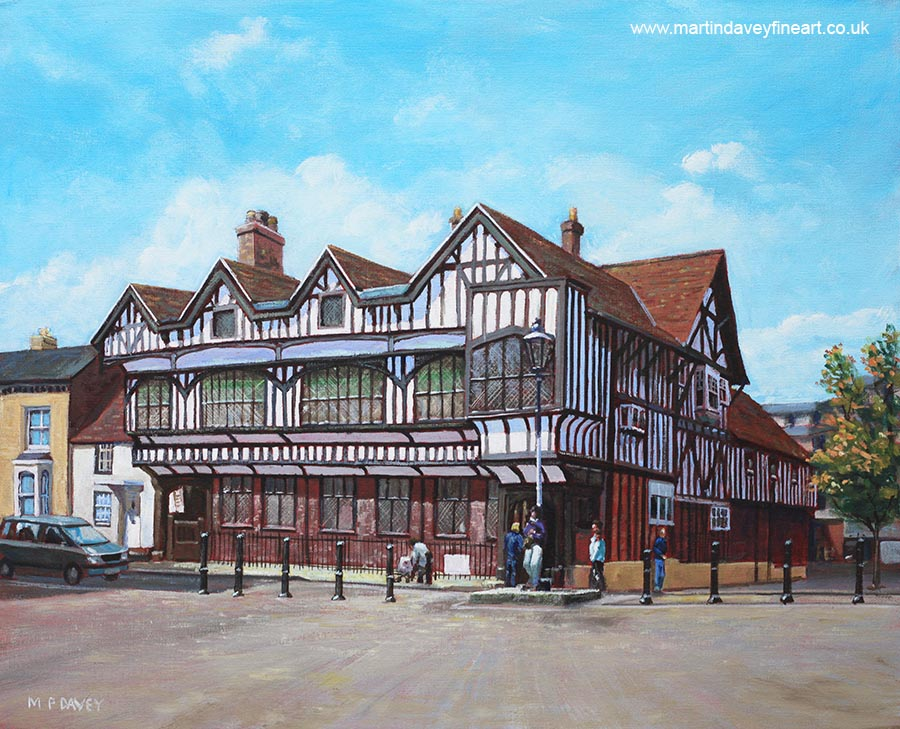 tudor house heritage building acrylic painting