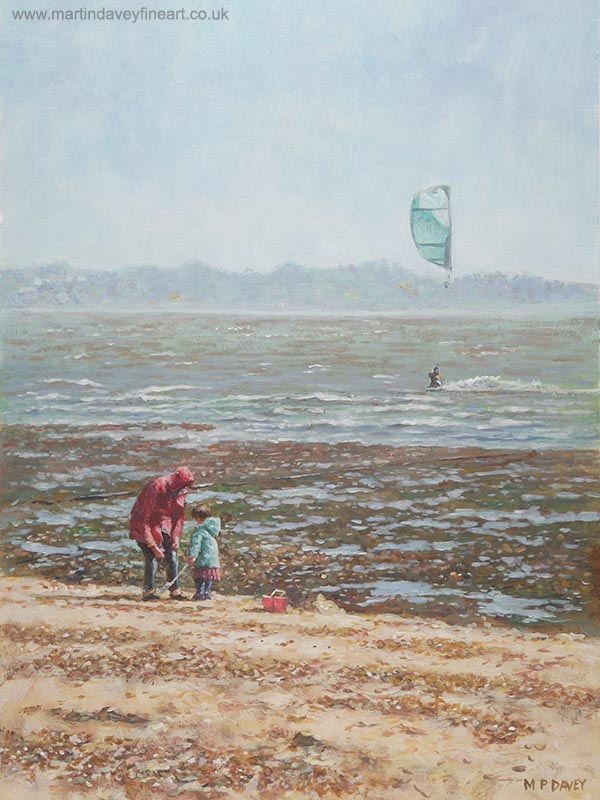 windy winters day lepe beach hampshire painting
