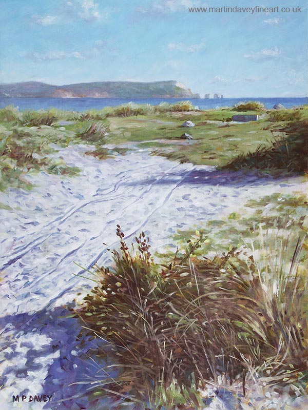 hengistbury head Christchurch beach with isle of wight painting