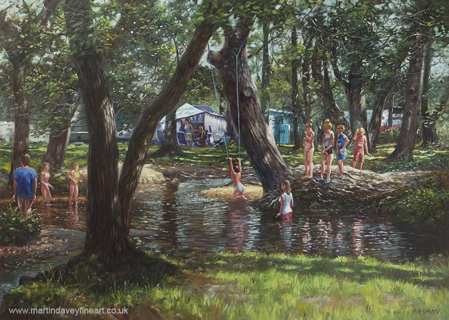 New forest camping site fun oil painting