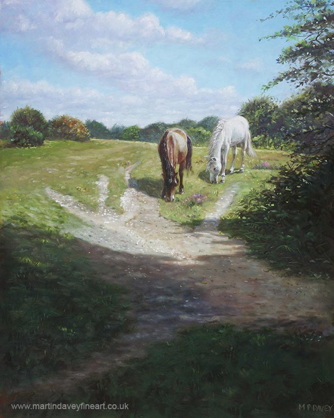 horses in new forest with shade and sun oil painting
