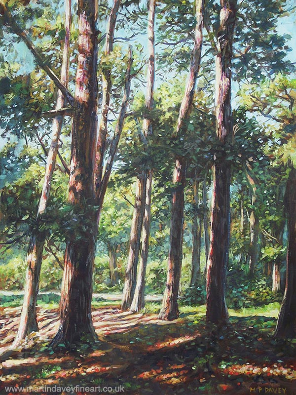 new forest trees with summer shadows acrylic painting
