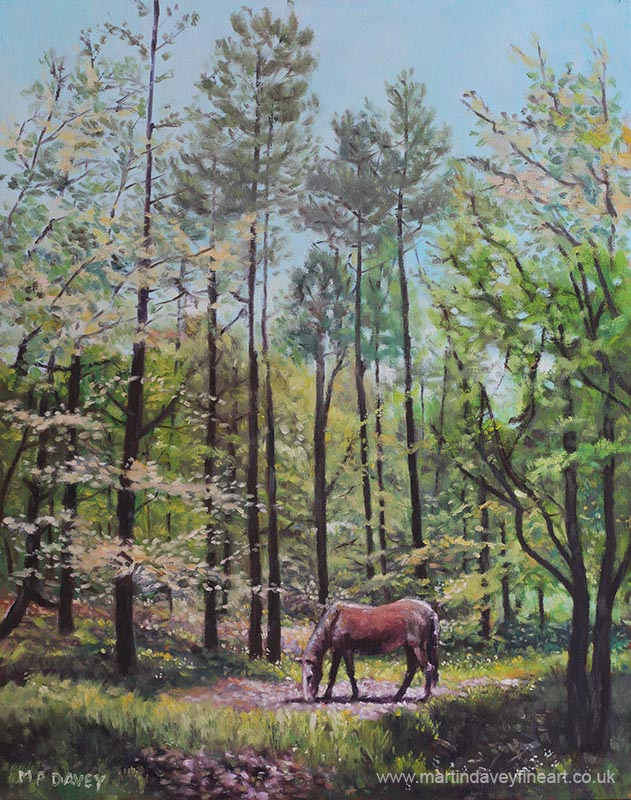 OIL_painting_new_forest_with_horse_in_light oil painting