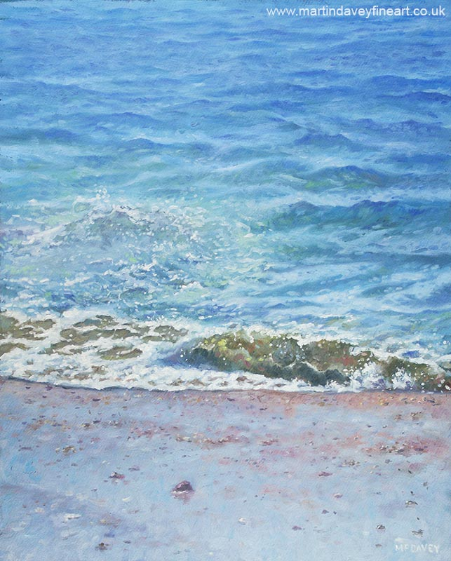 painting of single wave on beach