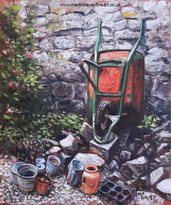 still_life_wheelbarrow_with_collection_of_pots_by_stone_wall oil painting
