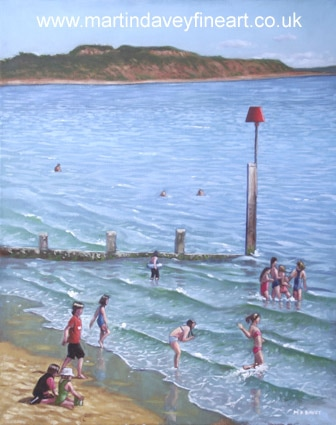 children playing on Bournemouth beach groin hengistbury head waves oil painting