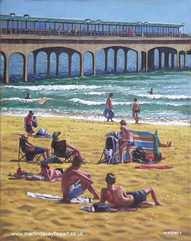 people on Bournemouth beach boys looking at others on beach oil painting