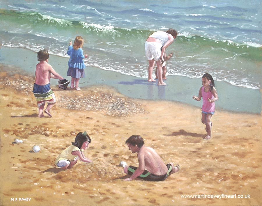 People On Bournemouth Beach Kids Playing In Sand And Ocean Oil Painting