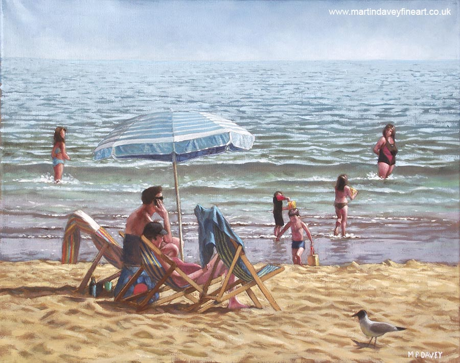 people relaxing on bournemouth beach under a parasol oil painting