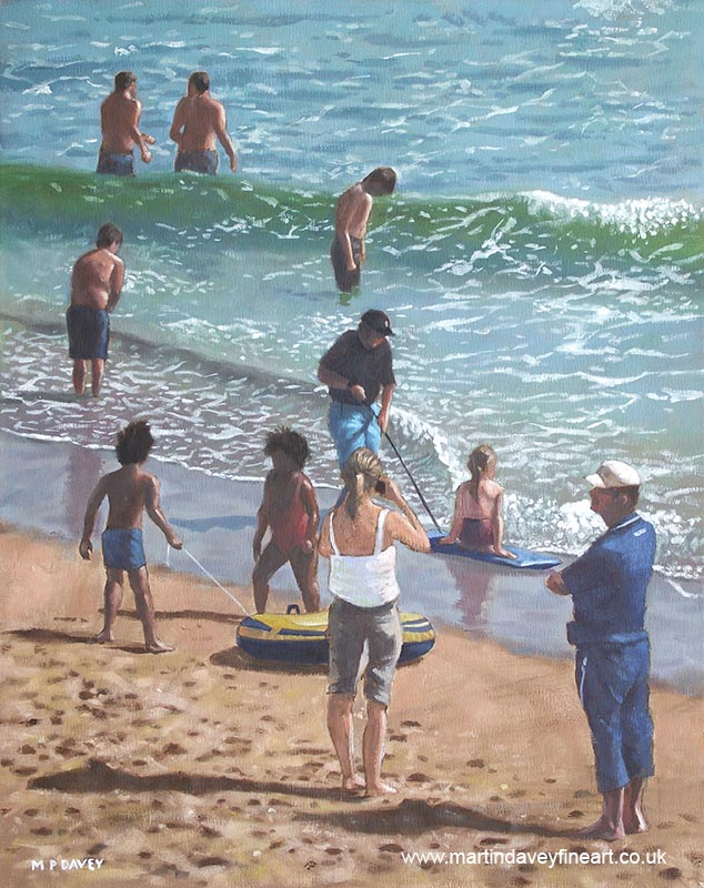 people on Bournemouth beach in sea pulling dingys oil painting
