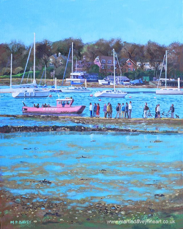 pink_ferry_on_the_river_hamble_ oil painting