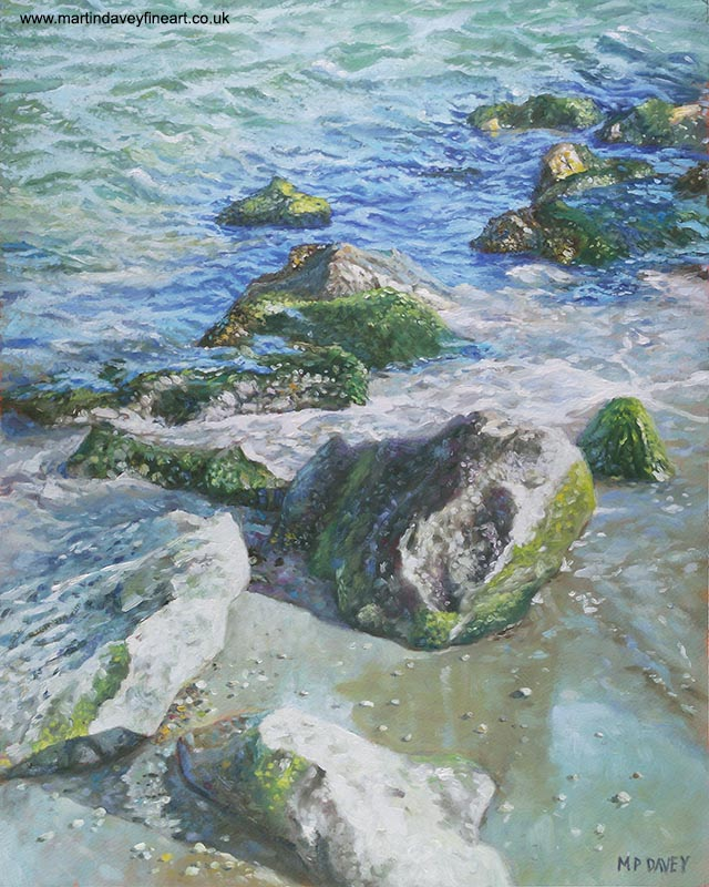 painting of rocks on beach oil painting