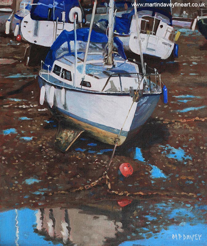 single_boat_on_eling_mudflats oil painting
