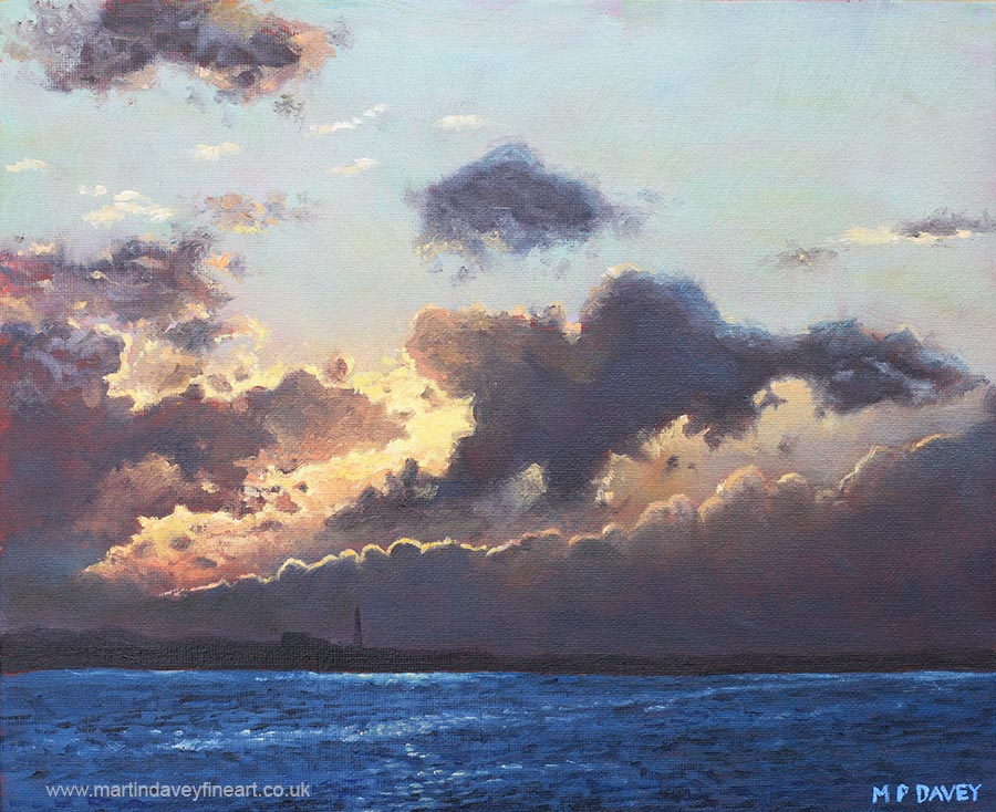 Sunset on the Solent oil painting