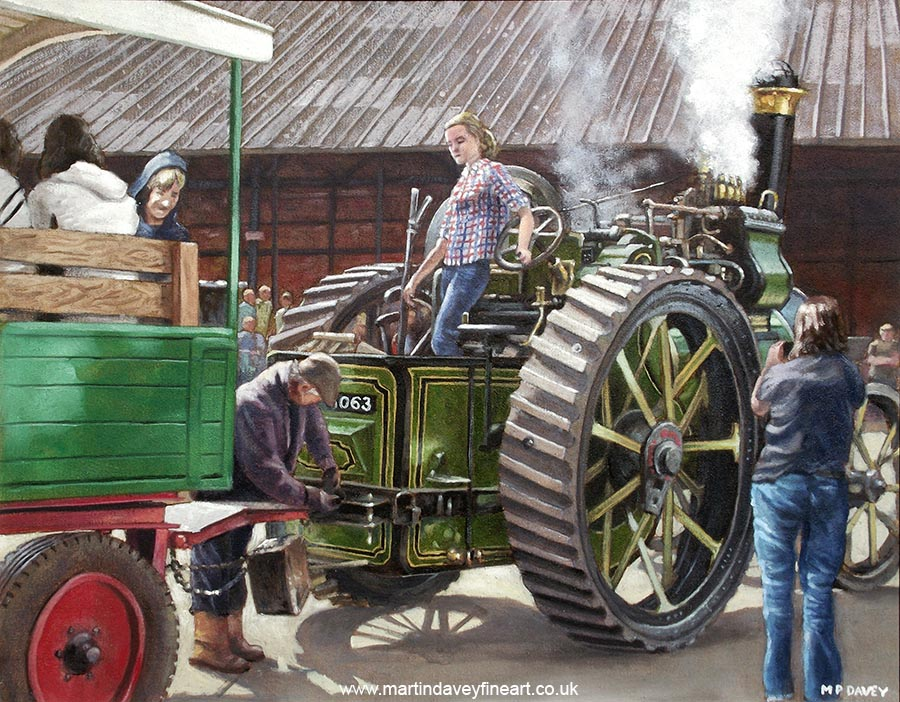 preserved Aveling and Porter traction engine at bursledon brickworks southampton oil painting