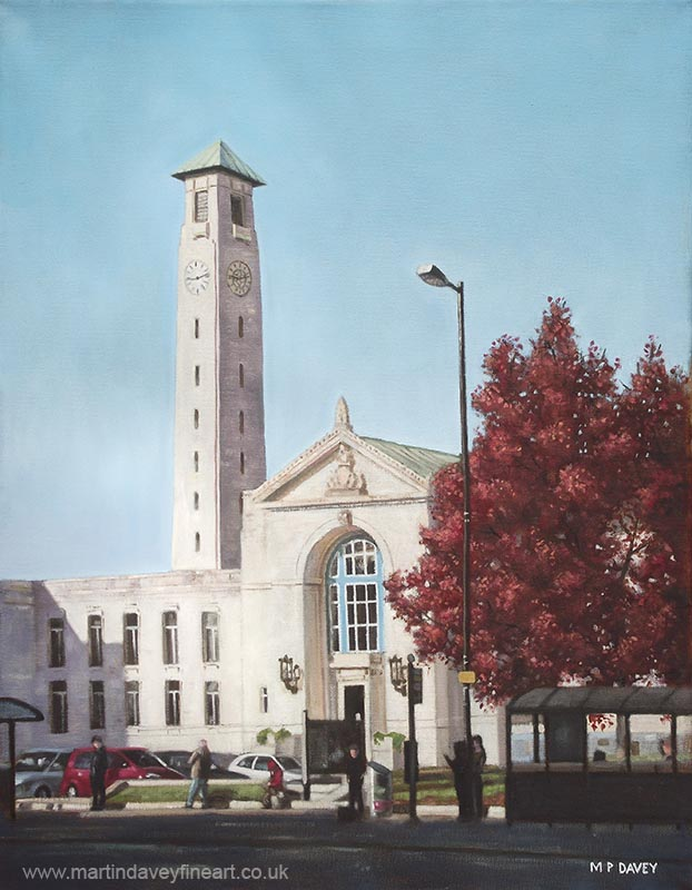 southampton uk civic centre grade 2 listed building oil painting