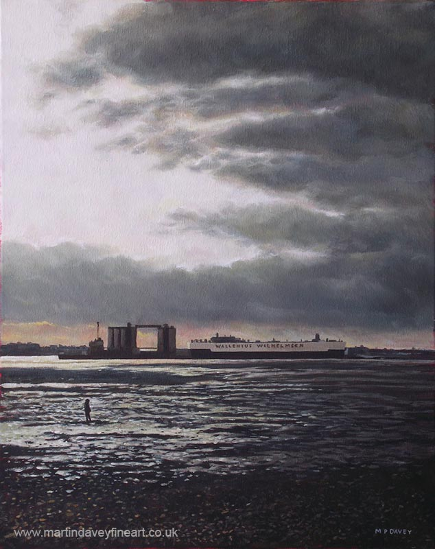 Southampton_Docks_from_Weston_shore_winter_sunset oil painting