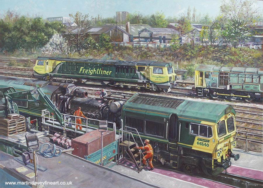 train maintenance freightliner industrial  southampton oil painting
