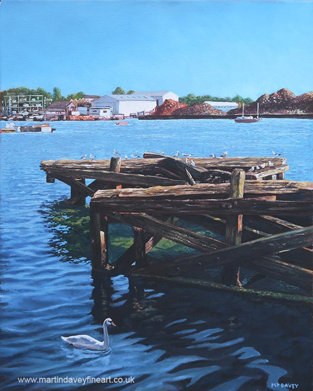 Southampton Northam River Itchen old jetty with sea birds_pub oil painting
