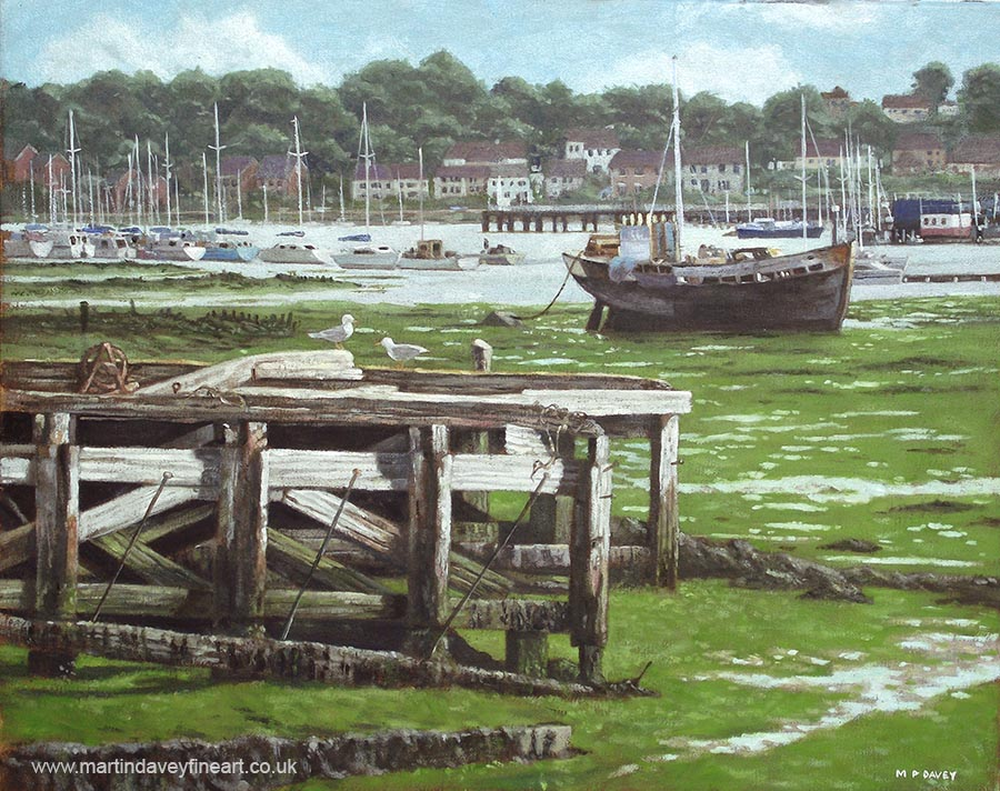 yachts and boats on northam river itchen mudflats southampton oil painting