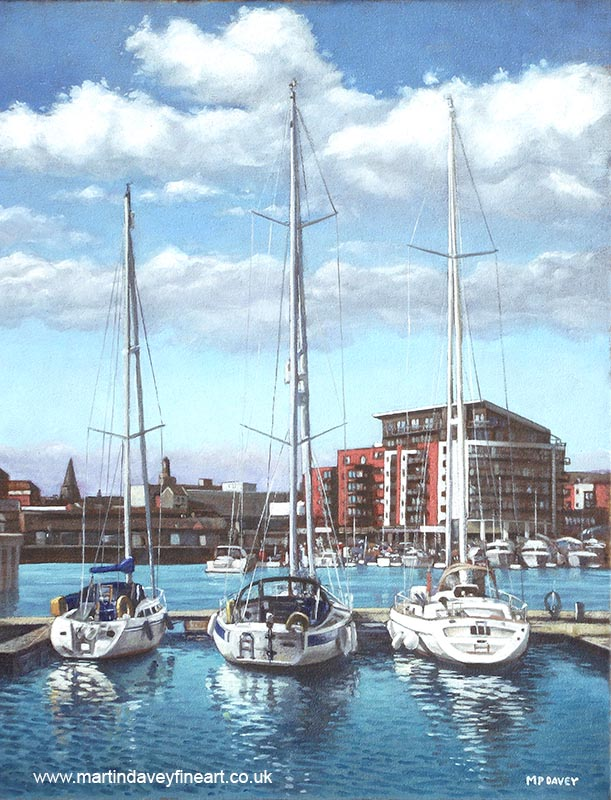 southampton ocean village with yachts in marina oil painting